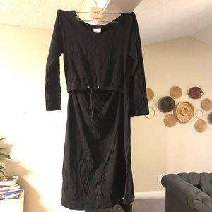 Black Cotton Boob Design Maternity/Nursing Dress